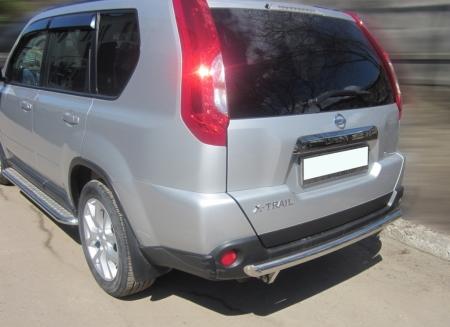 Nissan X-trail  2011-2014г.в.-Защита заднего бампера d-60 радиусная